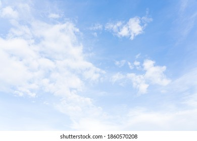 Blue sky and white fluffy cloud on sunny day, Horizontal Natural for Spring or summer background, Beautiful nature