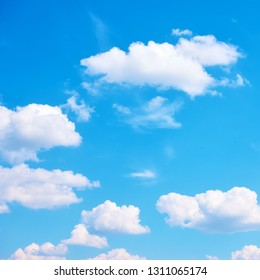 Blue sky with white heap clouds - Background, square cropping