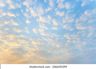 Blue sky and white puffy clouds in morning