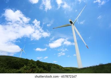 Blue sky and wind generator