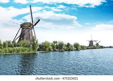 blue sky and wind mill in Kinderdijk