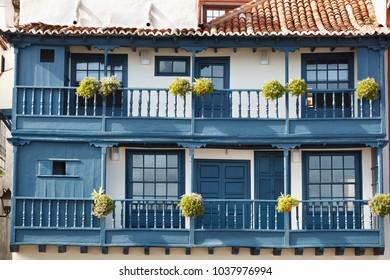 Blue slanted balconies in Santa Cruz De La Palma.