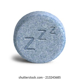 Blue Sleeping Pill with Three Z Isolated on White Background.