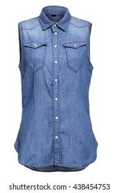 Blue sleeveless jeans shirt