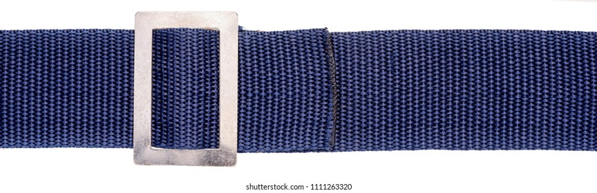Blue slings (belt) with buckle isolated on white background