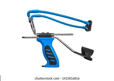 Blue slingshot isolate on white background. Modern slingshot with ergonomic grip with tubular bands.