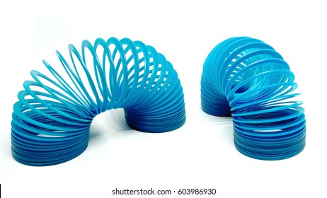 Blue slinky toy Isolated On White Background