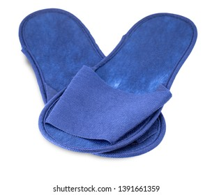 Blue slippers from hotel, slippers from airplane are on white, home slippers are on white background, home footwear