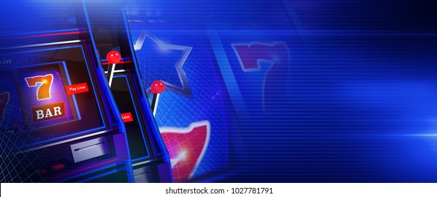 Blue Slot Casino Games Banner. 3D Rendered Illustration with Right Side Copy Space. Gambling Background.
