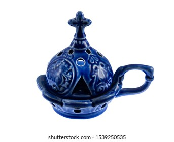 blue small ceramic censer isolated on white