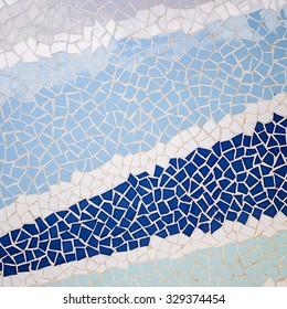 Blue small irregular tiles wall texture