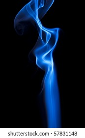 blue smoke in front of a black background