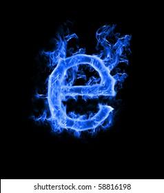 "Blue smoke letter ""e"""