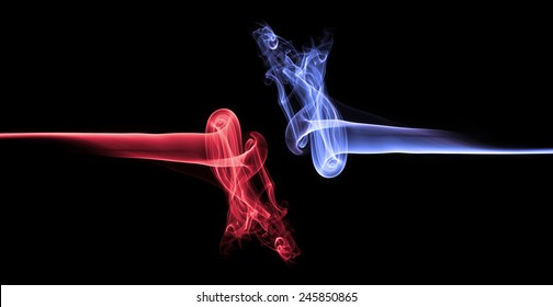Blue smoke vs red smoke abstract