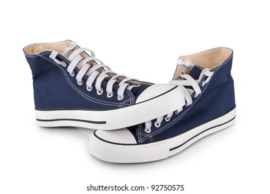 Blue sneaker isolated on white background with shadow