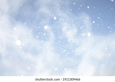 blue snowfall bokeh background, abstract snowflake background blurred abstract blue