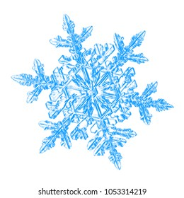Blue snowflake on white background. This sketch based on macro photo of real snow crystal: large stellar dendrite with fine hexagonal symmetry and six long, elegant arms with small side branches.