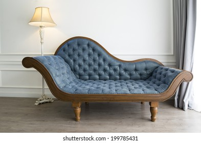 Blue sofa with luxurious look
