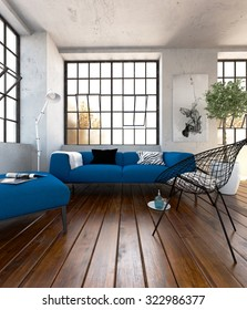 Blue sofa set in the modern living room - 3 d render using 3 d s Max