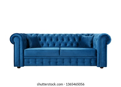 Blue sofa with Thiele Chesterfield, magnificent, convenient isolate