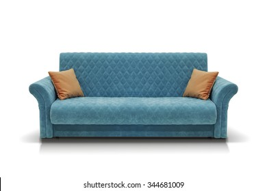 Blue sofa with two orange pillows isolated on white background