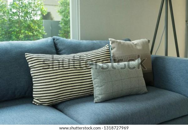 Blue Sofa White Grey Cushions On Stock Photo Edit Now