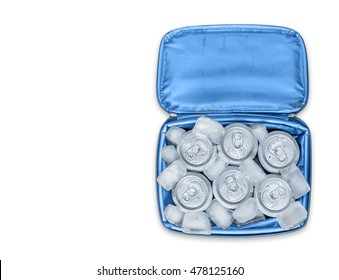 Blue soft cooler bag filled with soda cans and ice cubes. Top down view with drop shadow. Isolated on a white background. Lots of copy space.