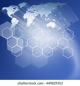 Blue soft global technology background with Honeycomb and earth