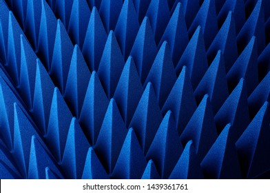 Blue soft hybrid pyramidal microwave and radio frequency absorbers close up