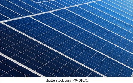 Blue solar panels arrangement