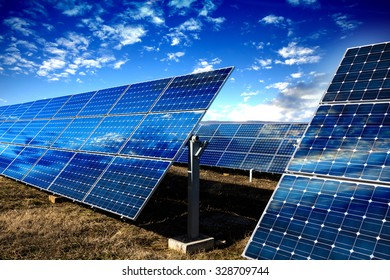 Blue solar panels, technology background