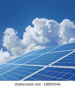 Blue solar power panels generating renewable energy