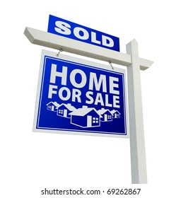 Blue Sold Home for Sale Real Estate Sign Isolated on a White Background.