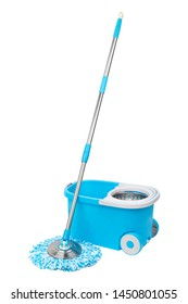 Blue spin mop with bucket on white background