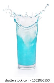 blue splash in a glass beaker on a white background