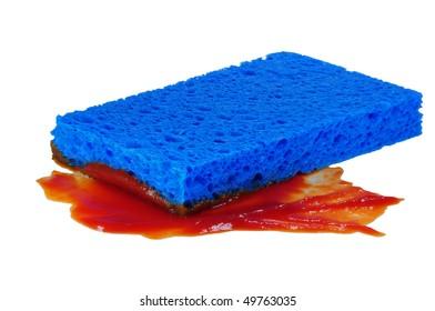 blue sponge ketchup macro