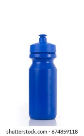 A blue sports drink water bottle isolated on a white background