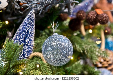 Blue spotted Christmas ball