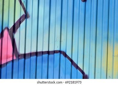 Blue Spray Paint on Metal