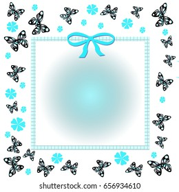 blue spring flowers scattered and butterflies frame illustration