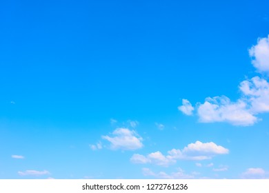 Blue spring sky with white clouds - natural background with large space for your own text