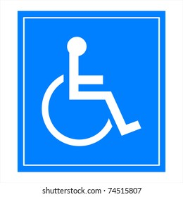 Blue square handicap sign with wheelchair