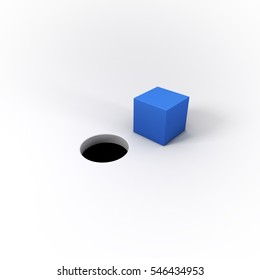 """A blue square peg and round hole on a bright background.  Visual representation of the idiom """"You can't fit a square peg into a round hole.""""  Great for business/technology uses.  3D Illustration."""