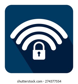 Blue Square WiFi and Bluetooth Lock Sign Flat Long Shadow Style Icon, Label, Sticker, Sign or Banner Isolated on White Background