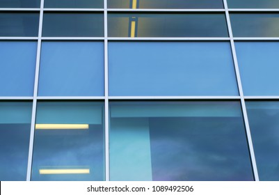blue squares window office modern perspective background