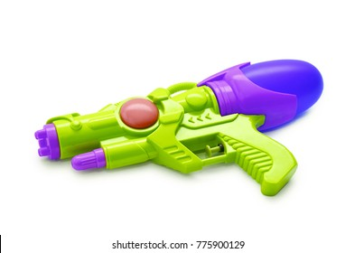 Blue squirt gun. Isolated on white background