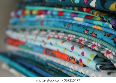 Blue Stack of Fabrics