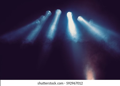 Blue stage lights.