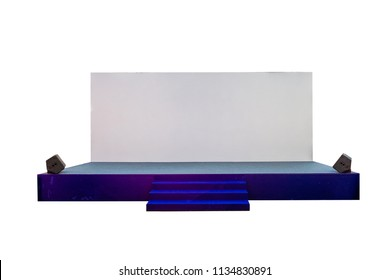 Blue stage with stairs on board white backdrop