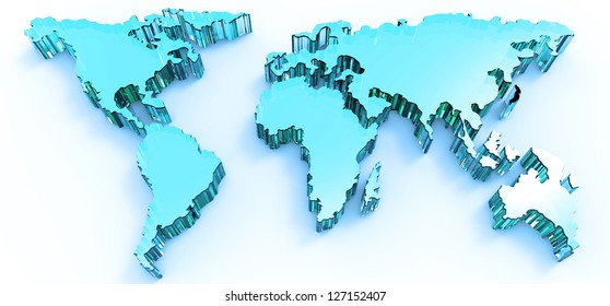 blue stainless 3d business world map
